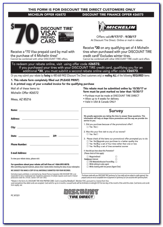 Michelin Tire Rebate >> Michelin 70 Mail In Rebate Form Form Resume Examples