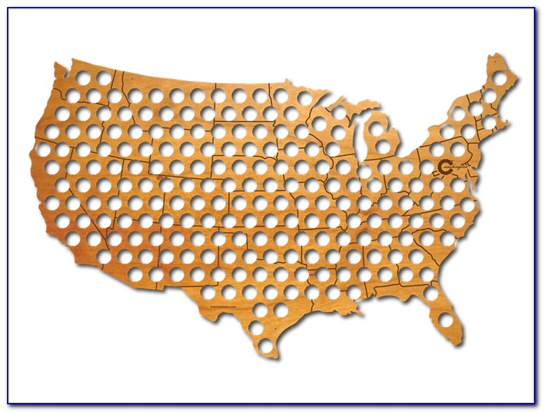 Michigan Beer Bottle Cap Map