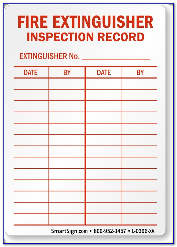 Monthly Fire Extinguisher Inspection Checklist Template