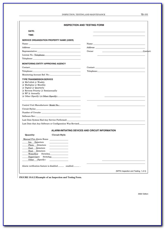 Nfpa Fire Pump Inspection Forms
