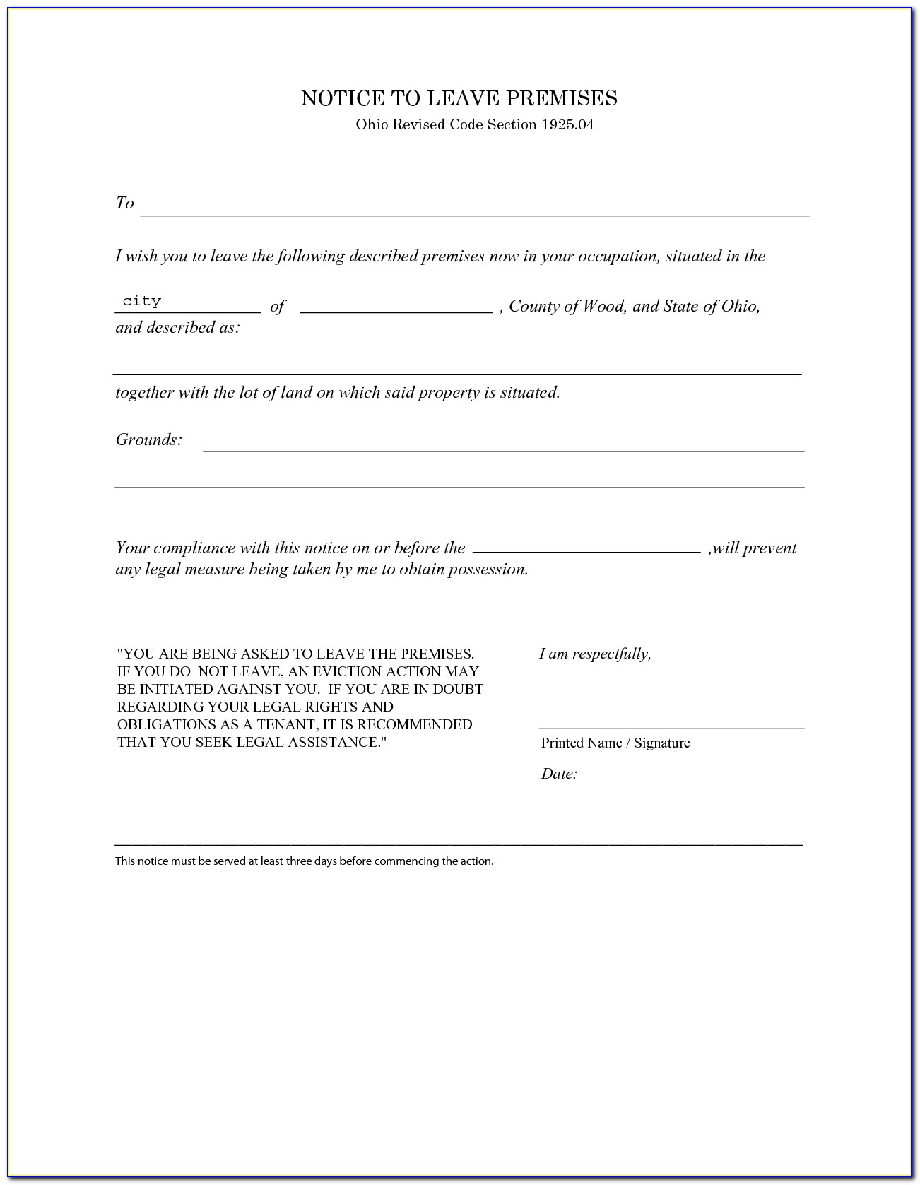 Ohio Eviction Notice Forms