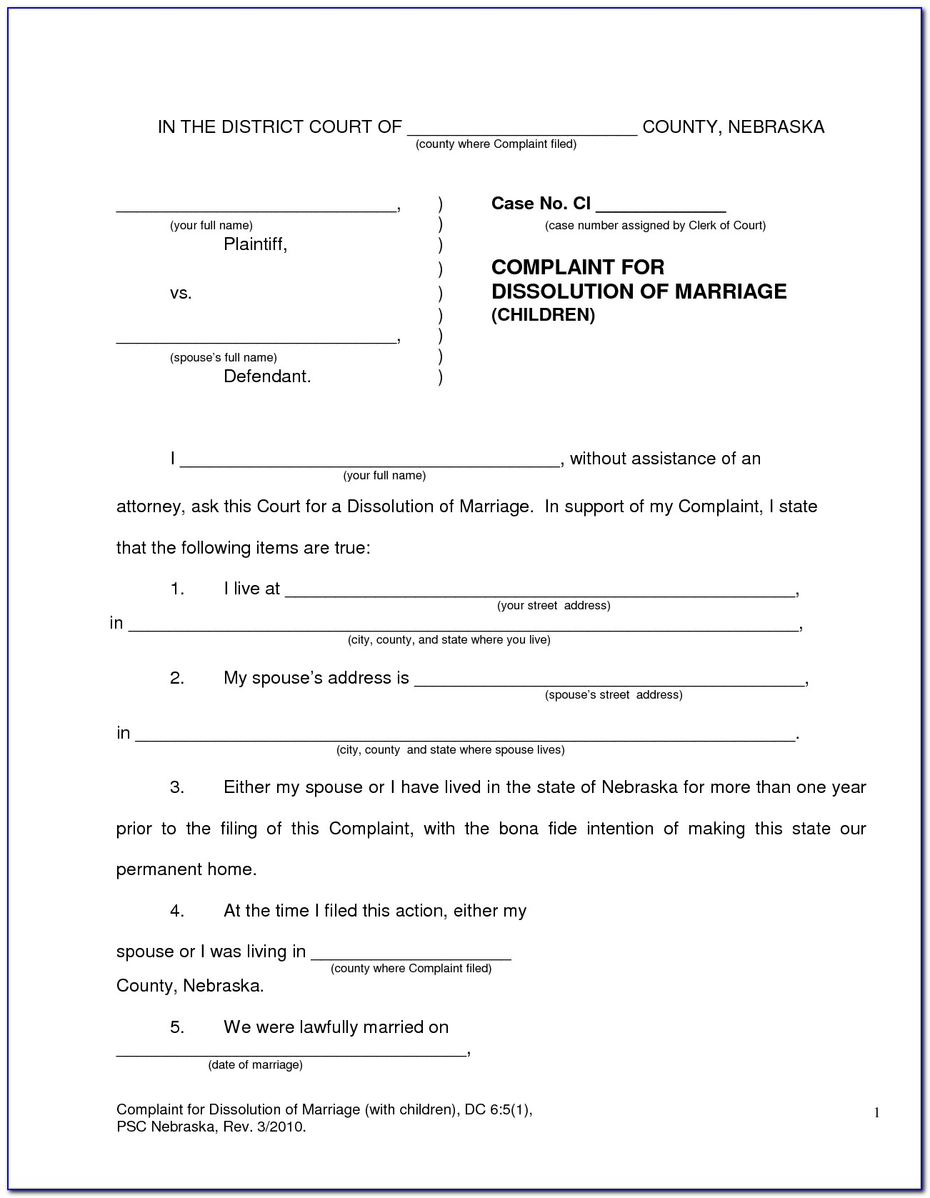 Oklahoma Divorce Decree Form