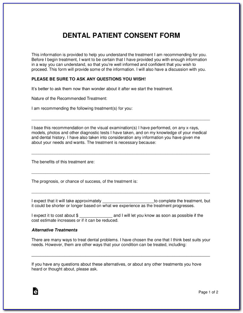 Orthodontic Consent Form Spanish