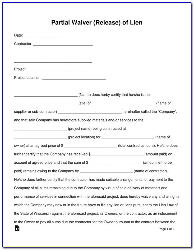 Partial Release Of Judgment Lien Form Texas