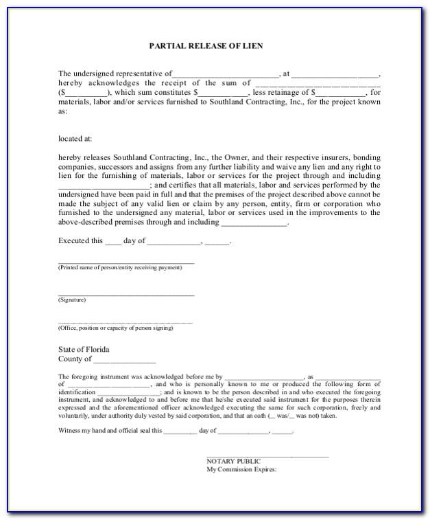 Partial Release Of Lien Form Texas
