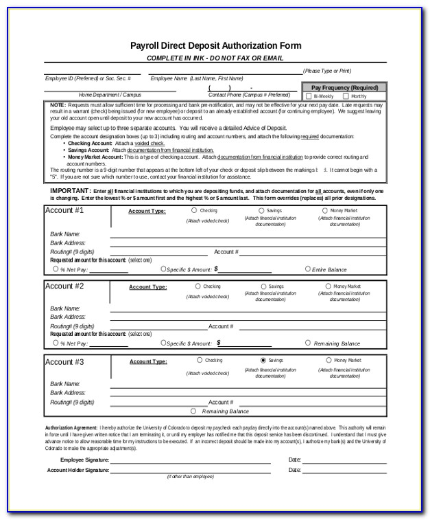 Payroll Direct Deposit Authorization Form Wells Fargo