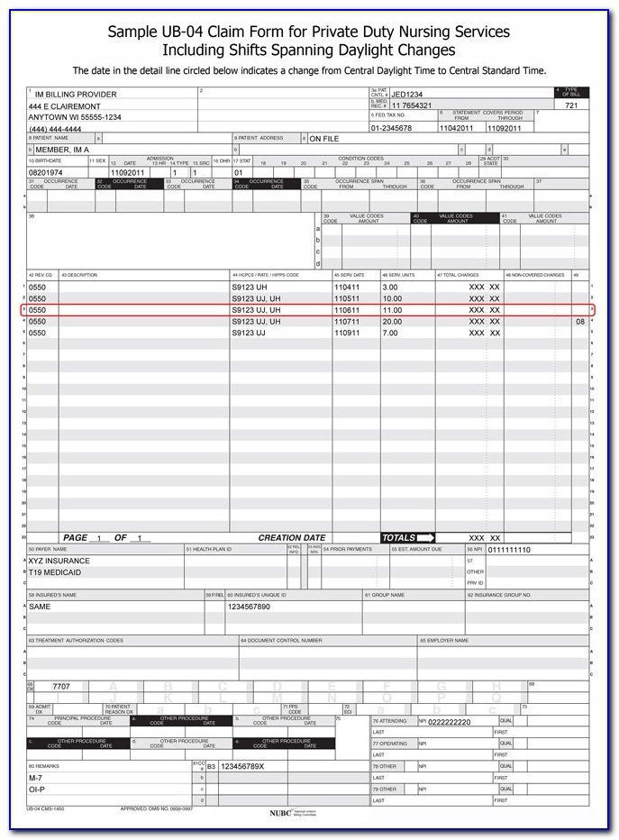 Picture Of Ub 04 Claim Form
