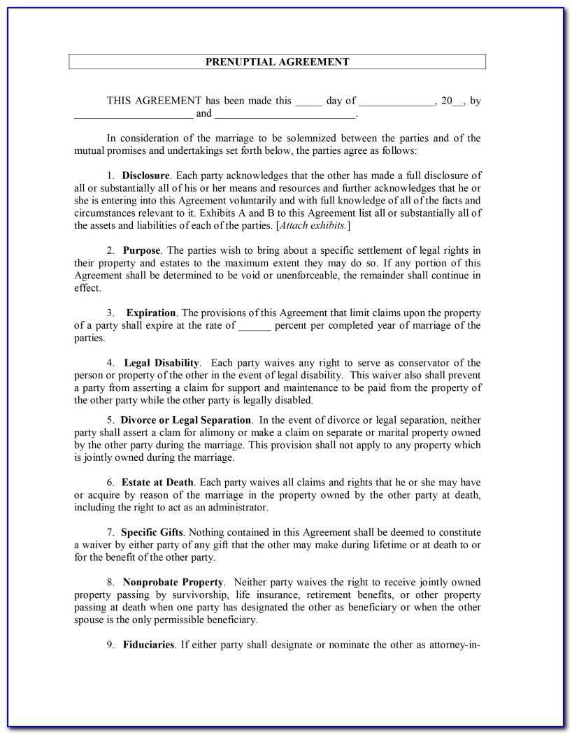 Prenuptial Agreement Sample Form Philippines