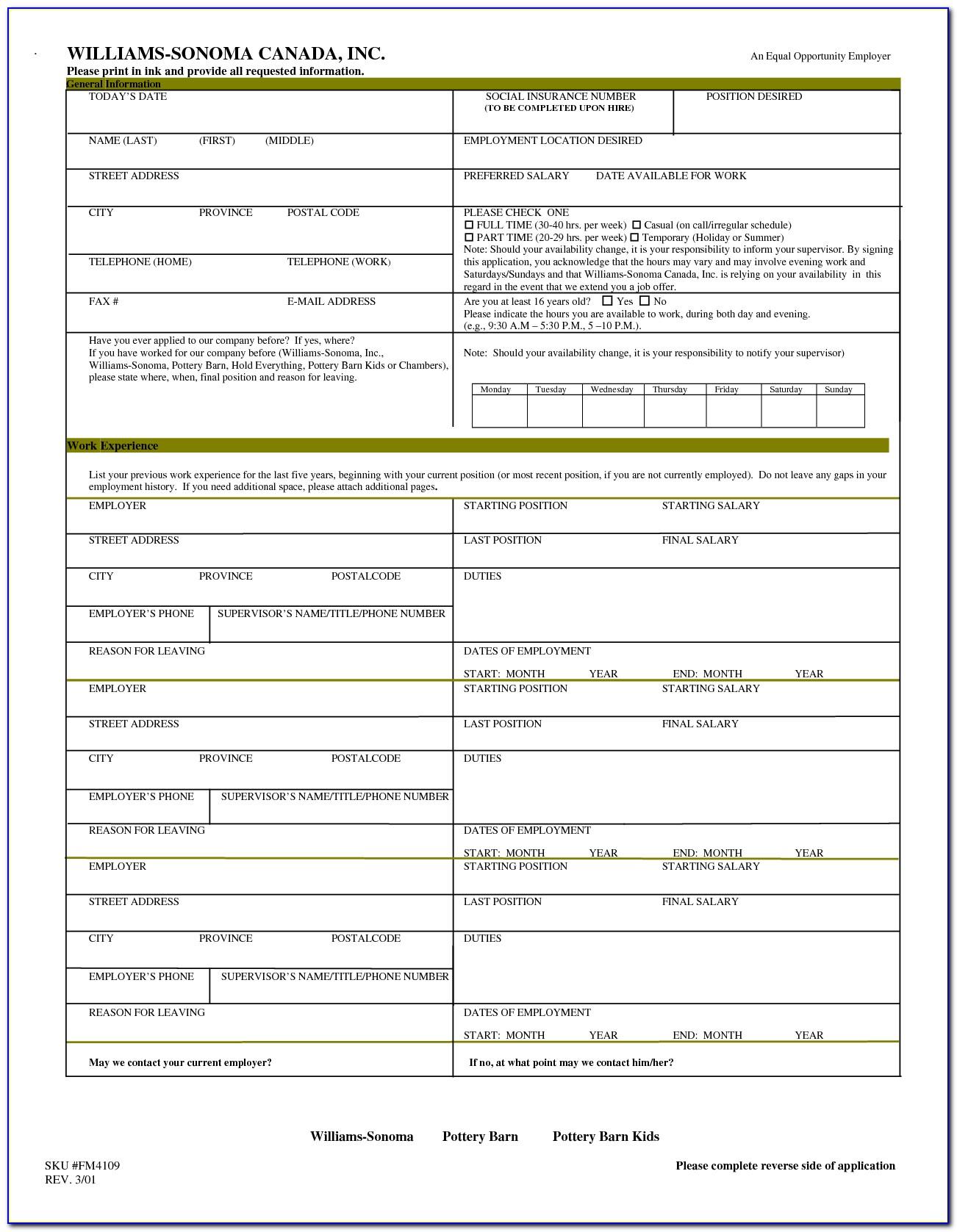 Printable Job Application Forms Uk