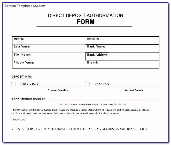 Direct Deposit Authorization Form Template Anuvratfo Free Payroll Direct Deposit Form Template Fresh Pdf Word Excel Templates Iuwte