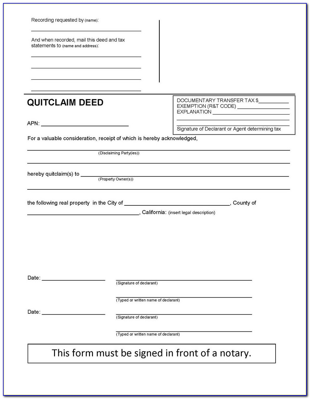 Quit Claim Mineral Deed Form Oklahoma