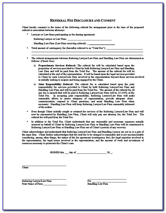 Real Estate Referral Form Word Doc