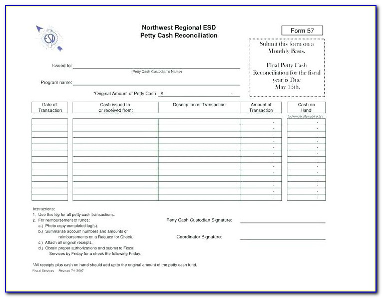 Retail Cash Drawer Reconciliation Form