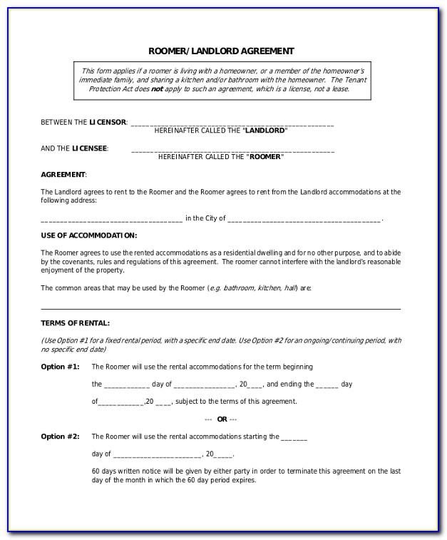 Room Rental Contract Example
