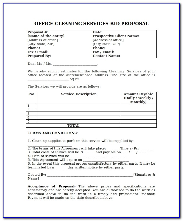 Sample Bid Proposal Form For Cleaning