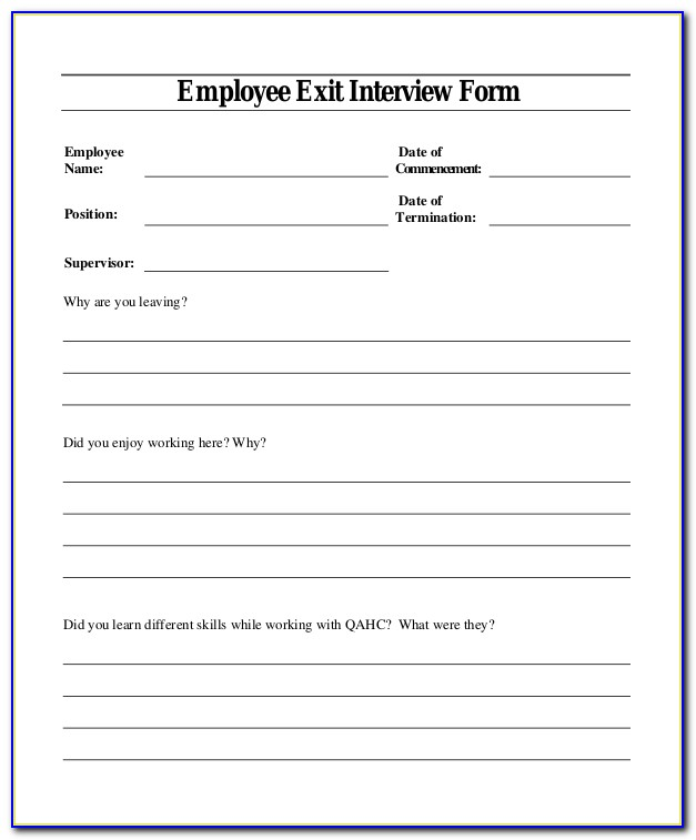 Sample Exit Interview Form Template