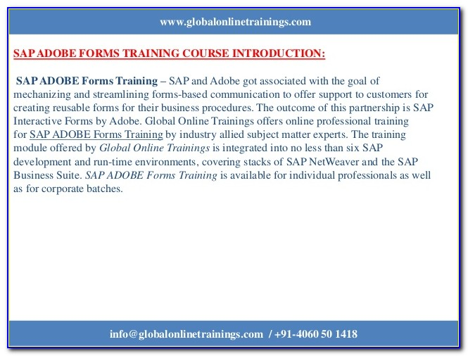 Sap Adobe Forms Training Material