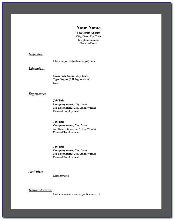 Simple Blank Resume Format Pdf