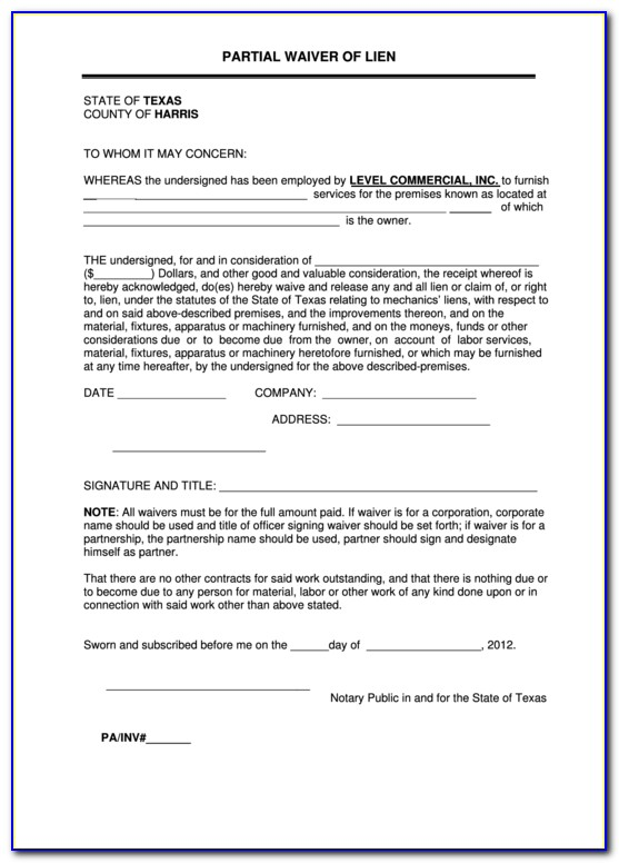 Subcontractor Partial Release Of Lien Form