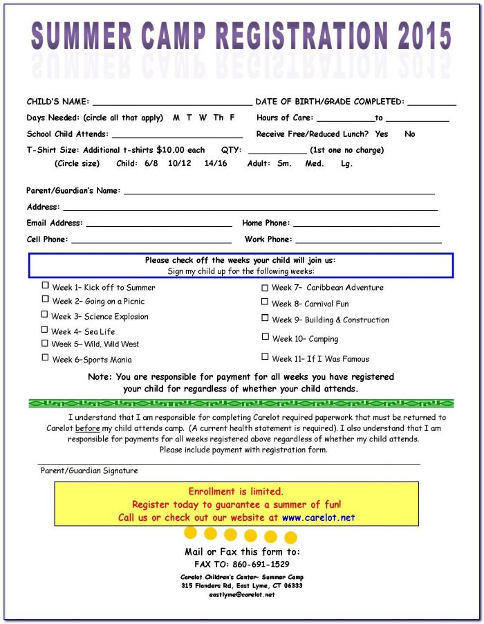 Summer Camp Registration Form Template