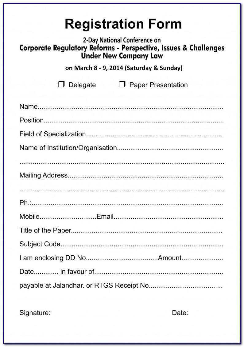 Summer Camp Registration Form Template Word