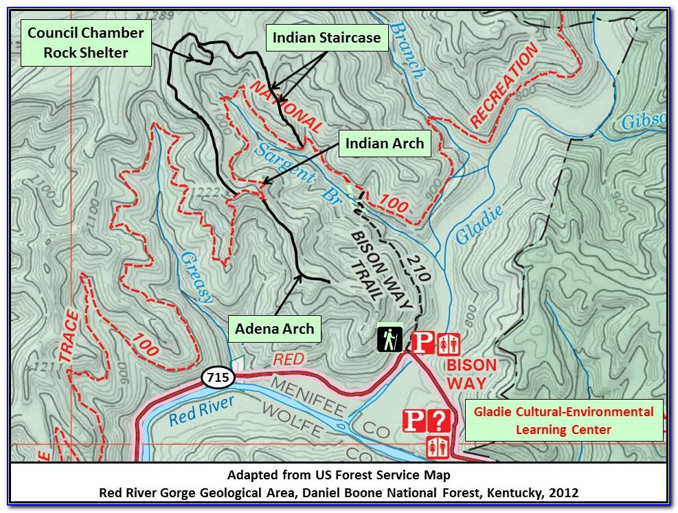 Swift Camp Creek Trail Red River Gorge Map