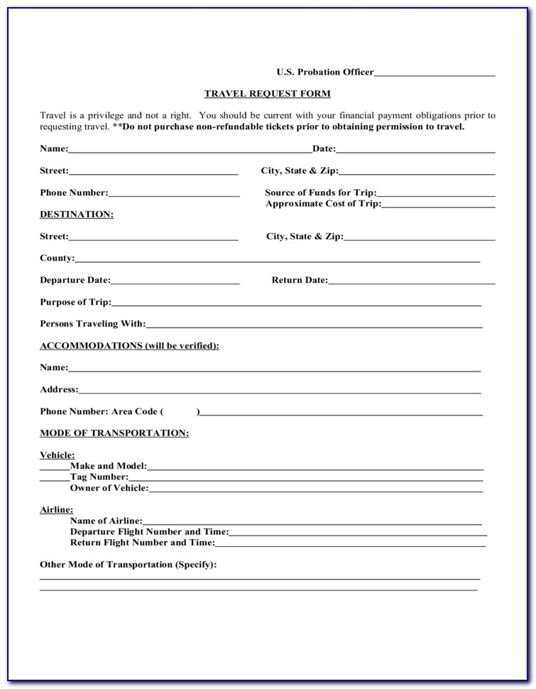 Travel Request Form Template Free