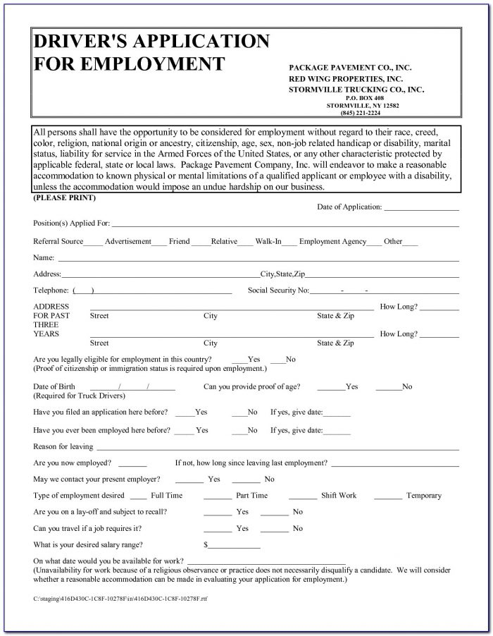 Truck Driver Employment Application Template