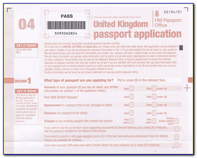 Uk Passport Renewal Form Download Pdf