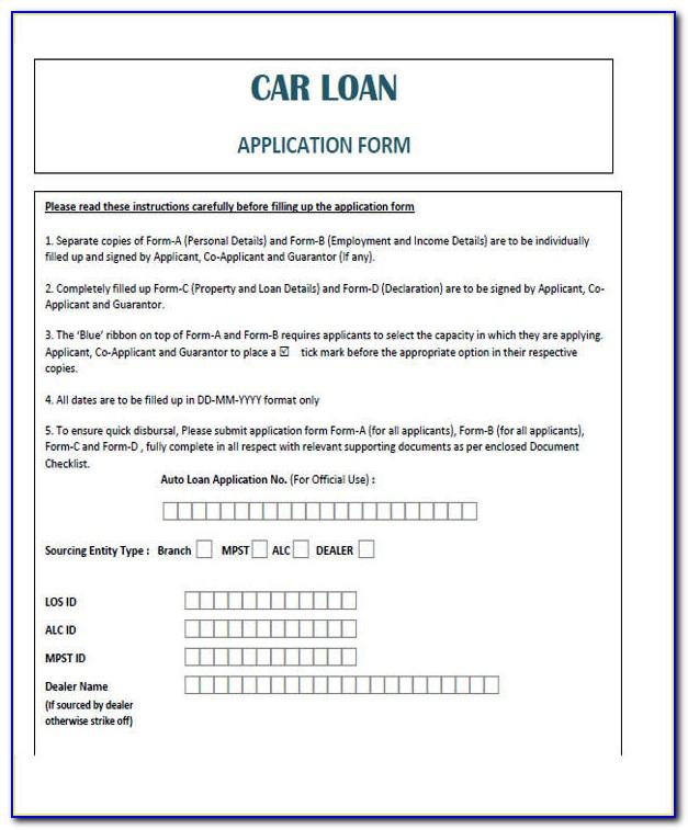 Vehicle Loan Agreement Form