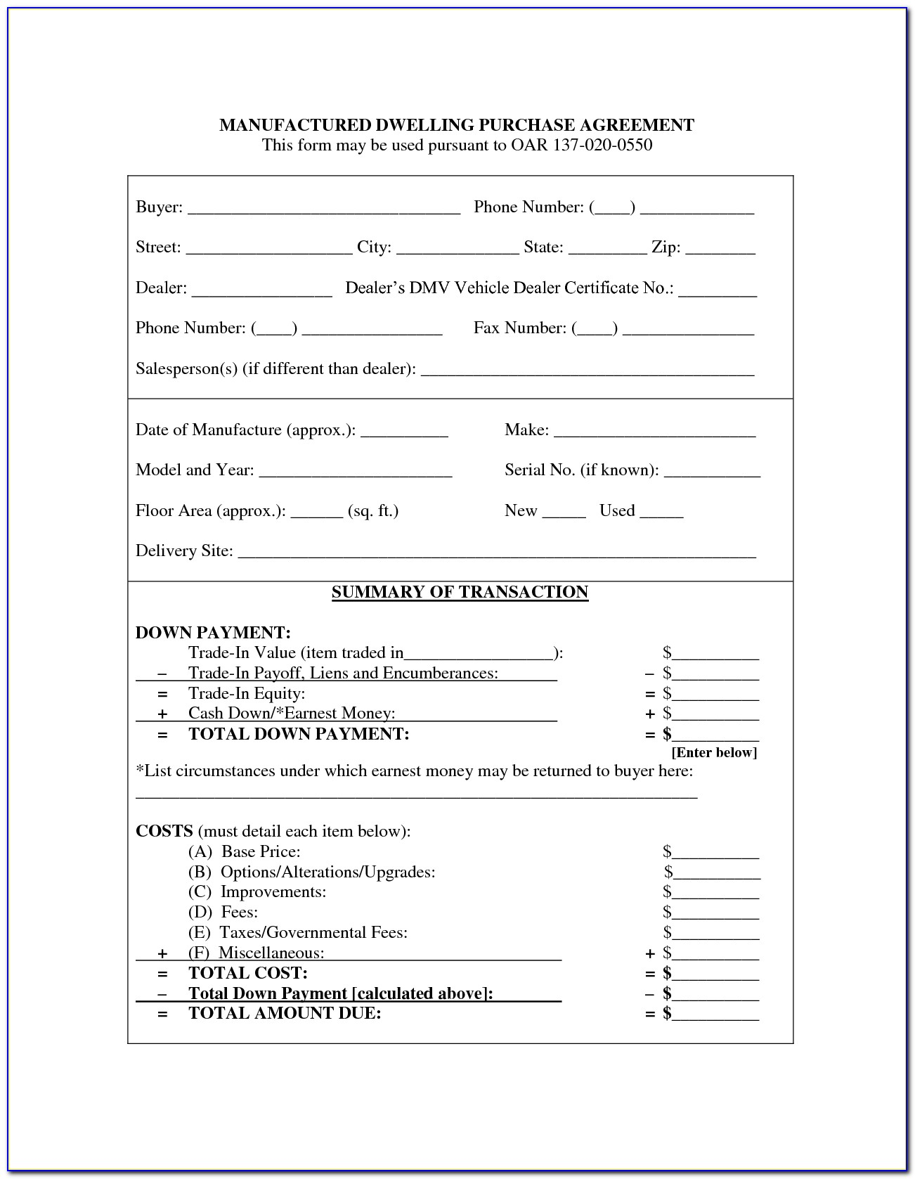 Vehicle Purchase Agreement Format