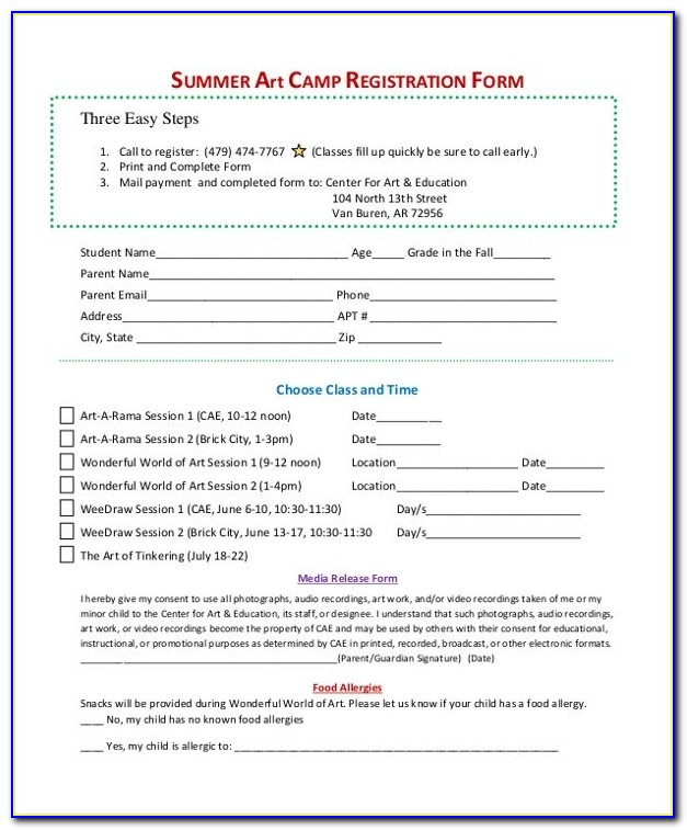 Sample Summer Camp Registration Form 10+ Free Documents In Pdf With Regard To Summer Camp Registration Form Template