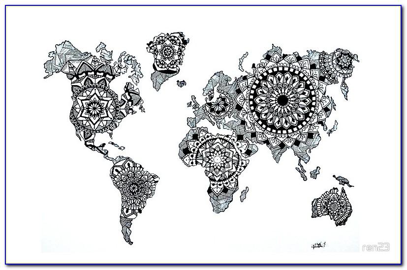 World Map Mandala Speed Drawing