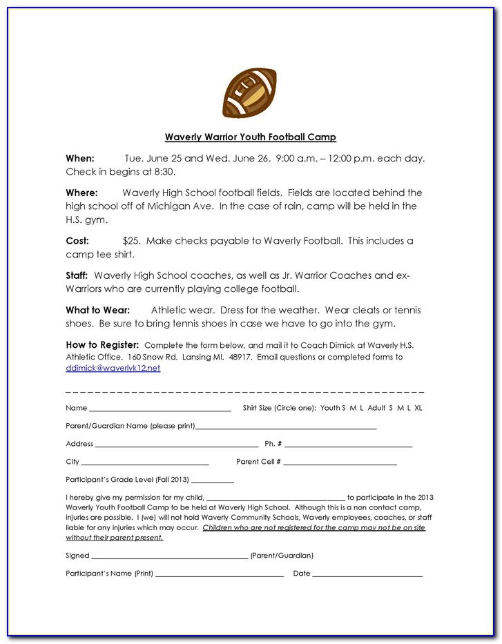 Youth Football Registration Form Template Form Resume