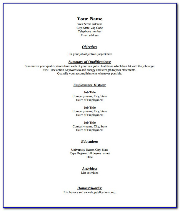Blank Resume Pdf Free Download