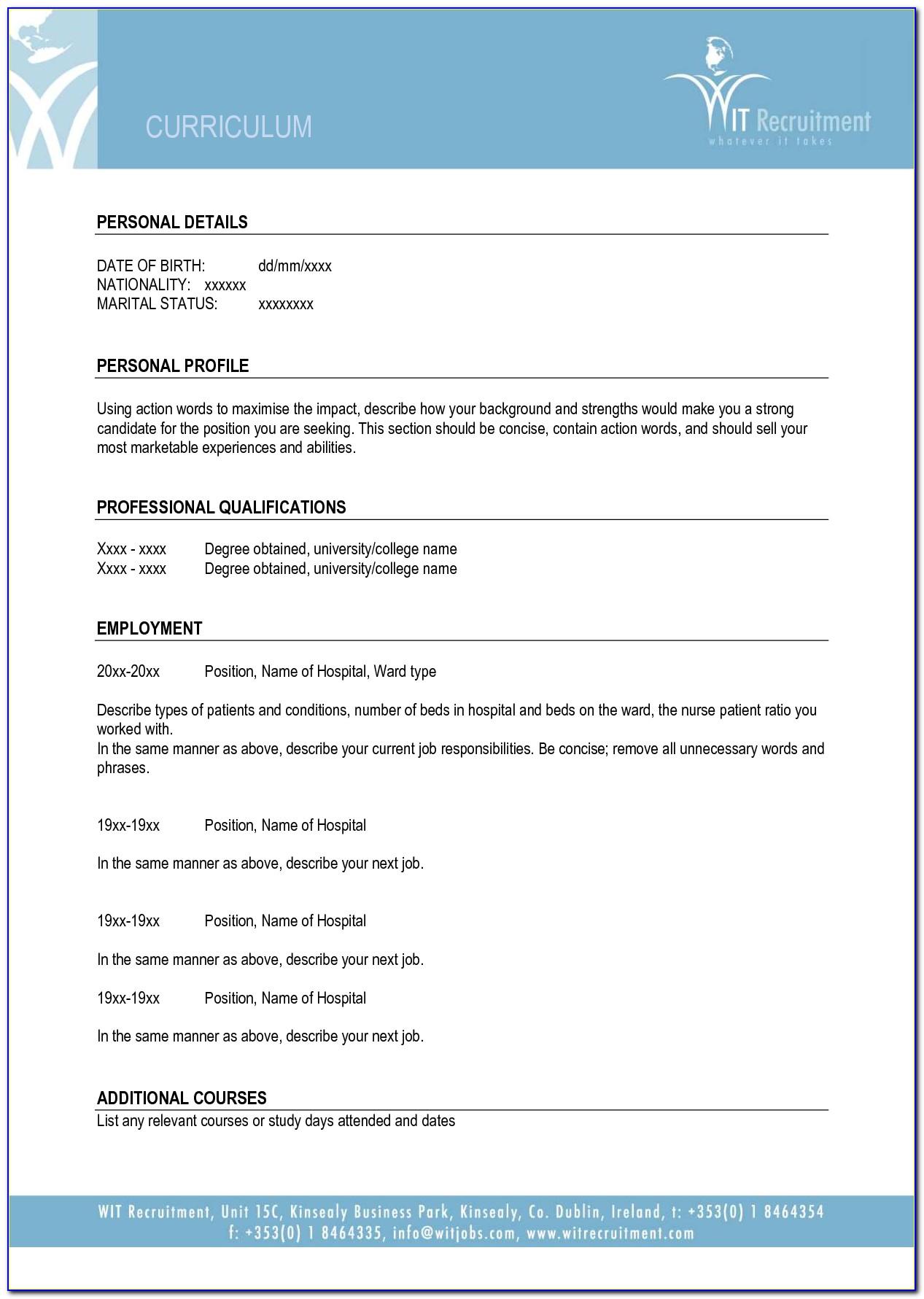 Blank Resume Template Doc