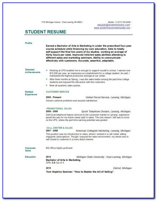 College Resume Builder For Highschool Students