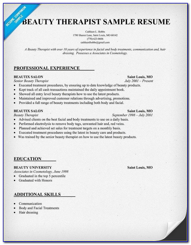 Beauty Resume Sample   We Also Have 1500+ Free Resume Templates In With Regard To Cosmetology Resumes Template