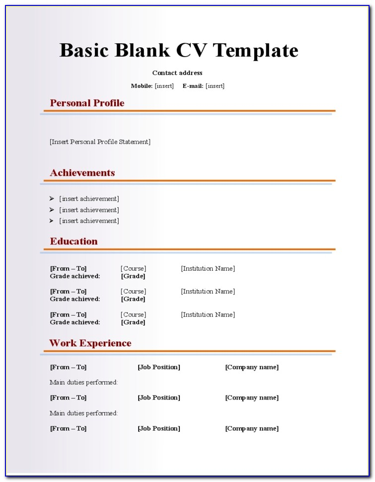 Resume Template Free Fill In Basic Blank Cv Resume Template For Pertaining To Blank Basic Resume Template