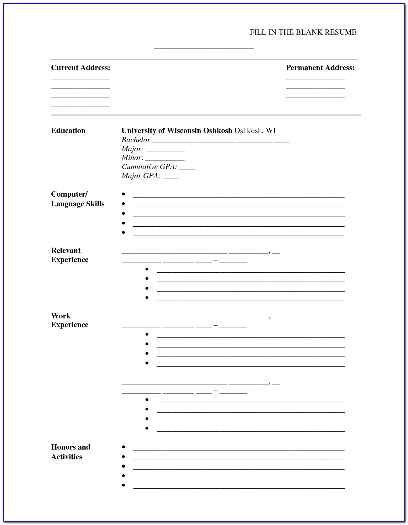 Fill In The Blank Resume Printable