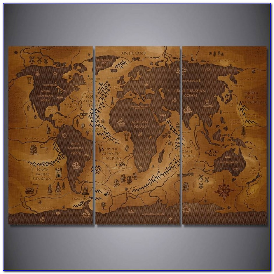 3 Pcs/set Framed Hd Printed Vintage World Map Poster Wall Art ... Within Framed World Map Painting