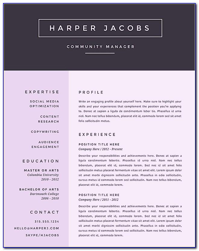 Free Creative Resume Templates Powerpoint