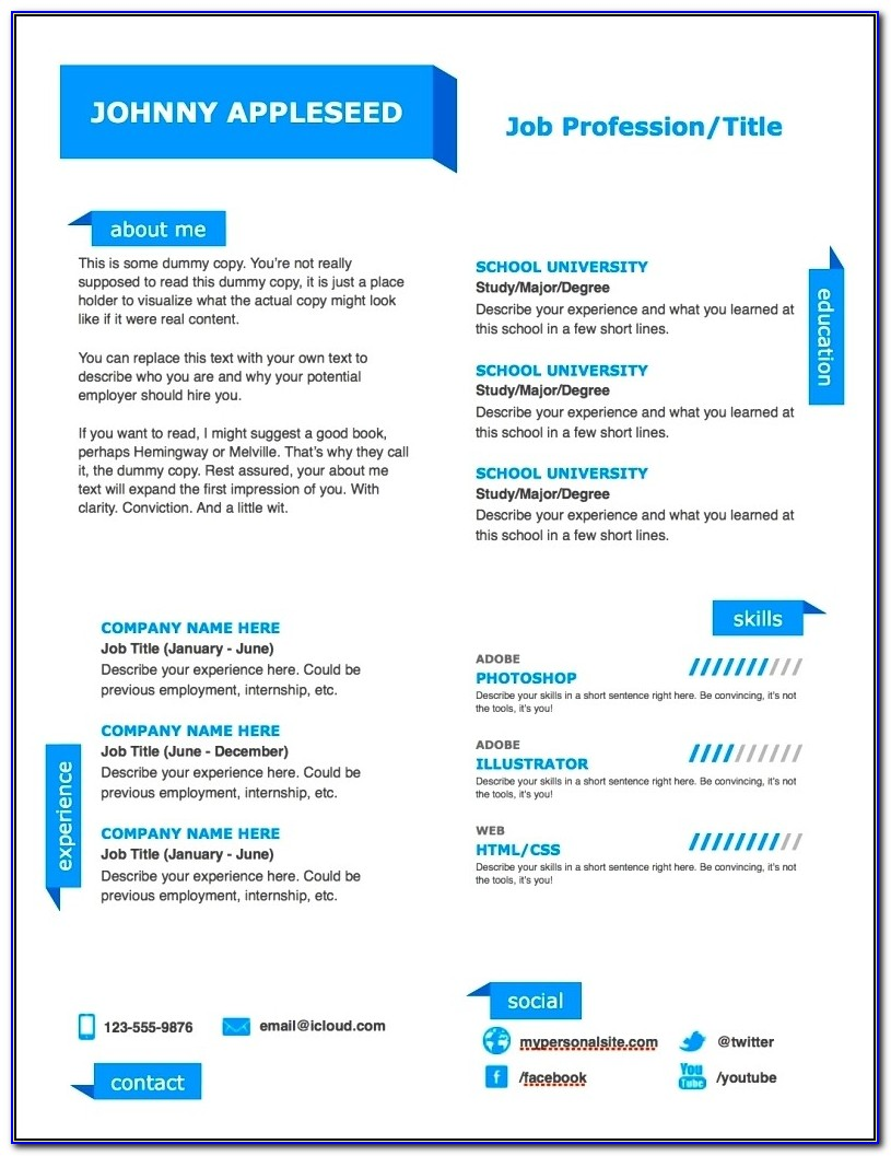 Modern Resume Templates Free Word