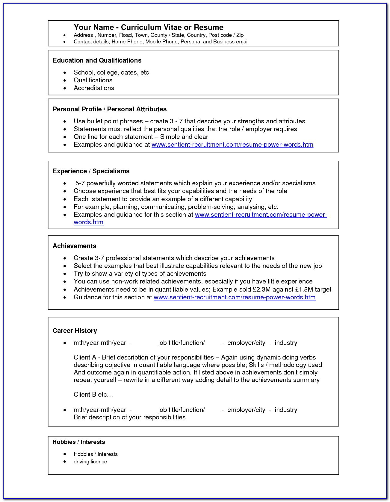 Free Resume Template Microsoft Word Download