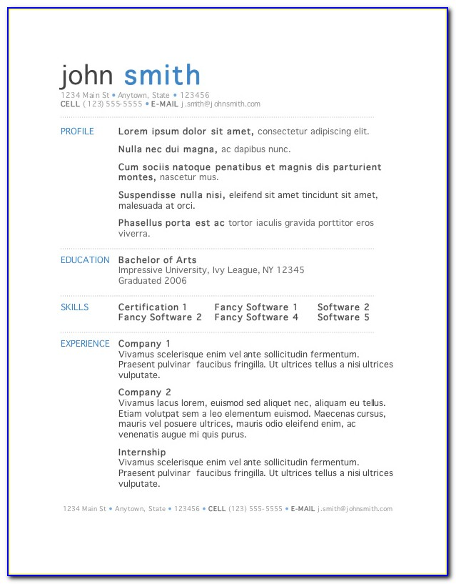 Free Resume Templates For Word 2016