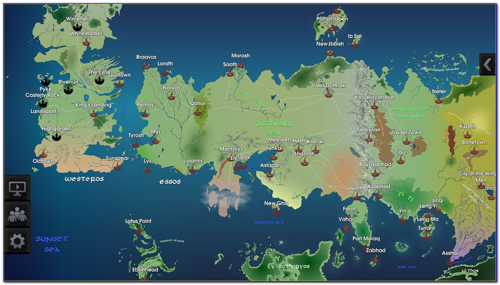 Full Map Of The Game Of Thrones World