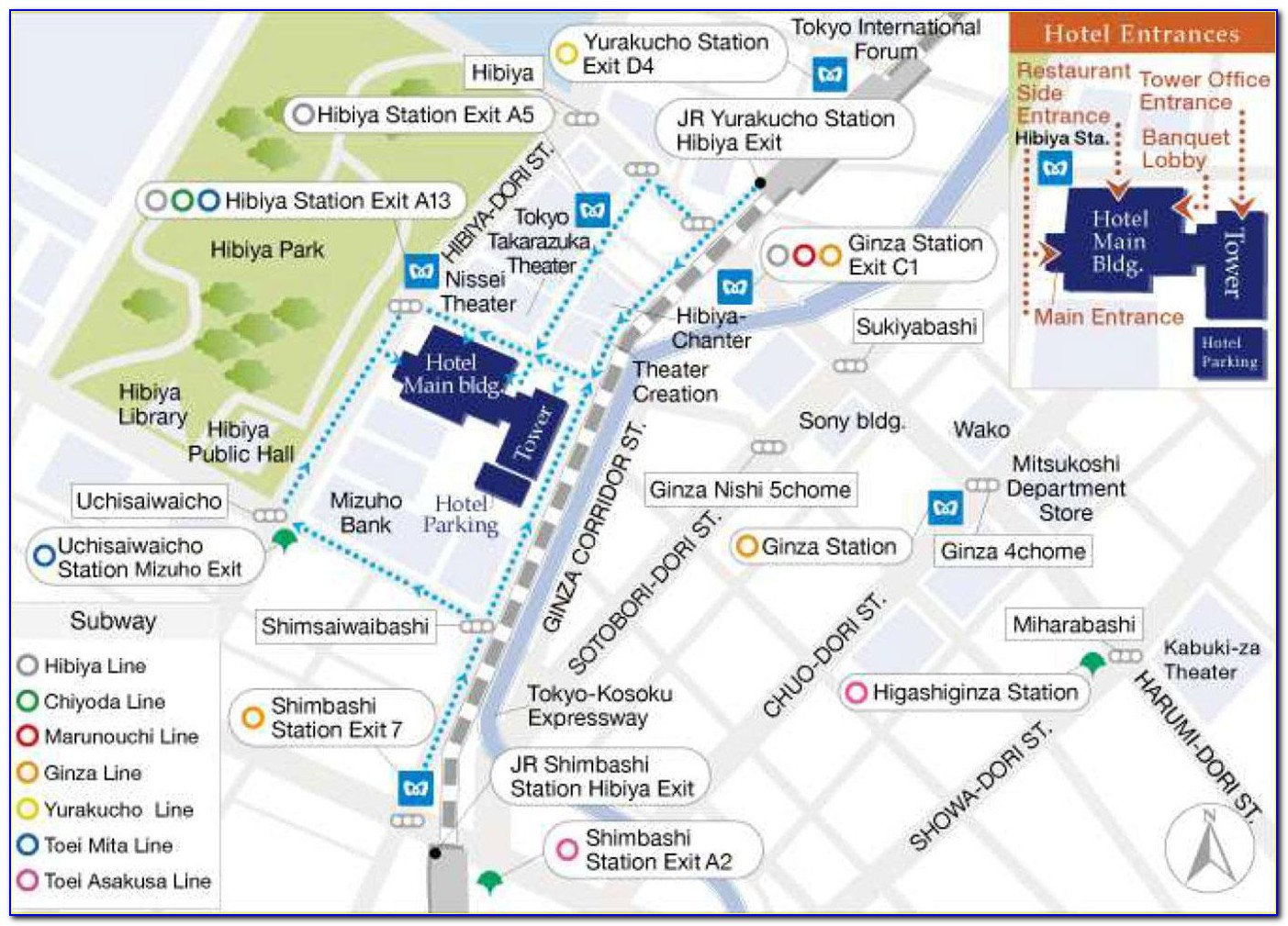 Ginza Hotel Map