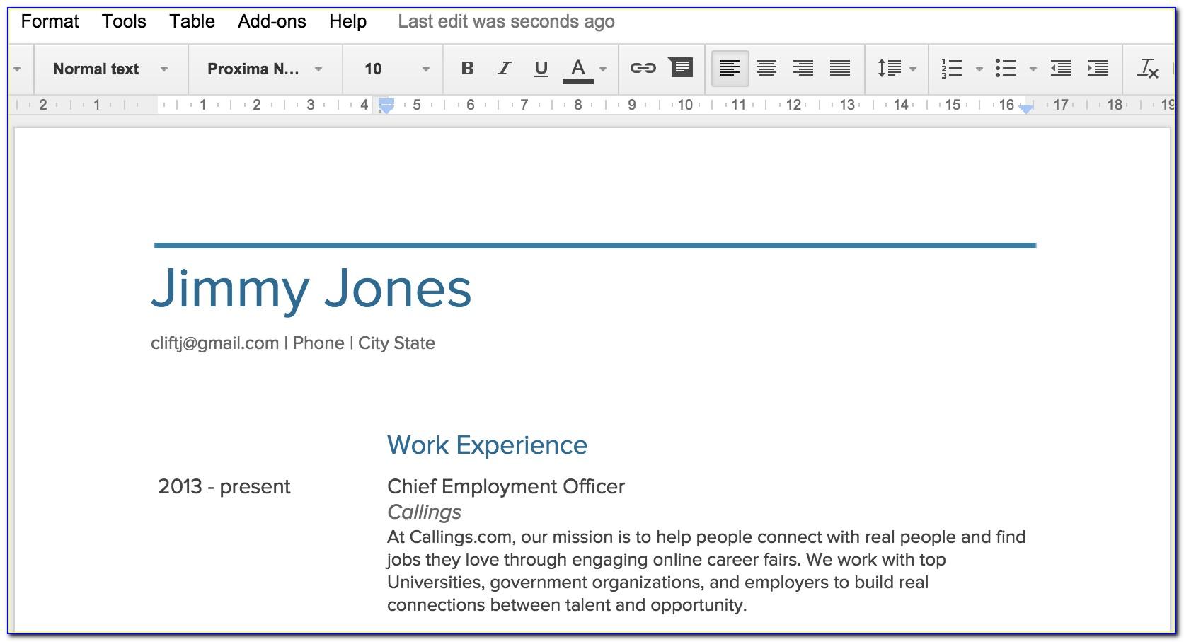 Google Documents Resume Builder