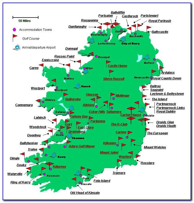 Ireland Golf Courses Map