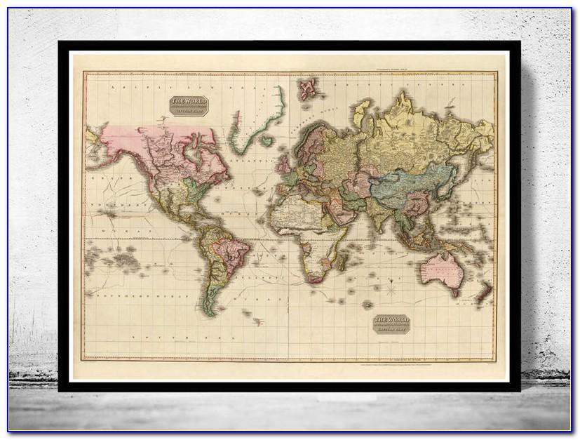 Large Framed Old World Map